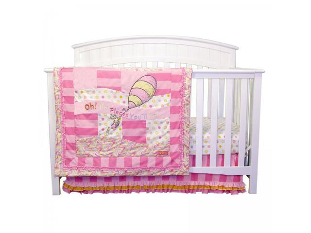 Dr. Seuss Pink Oh, The Places You'll Go 3 Piece Crib Bedding Set - by Trend Lab