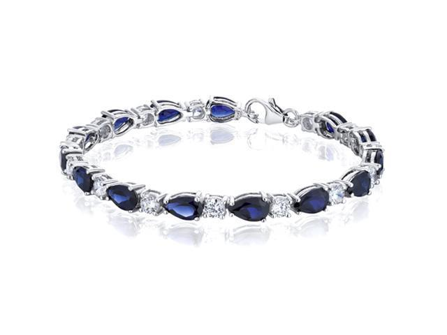 Perfect Allure: Pear Shape Blue Sapphire & White CZ Gemstone Bracelet in Sterling Silver