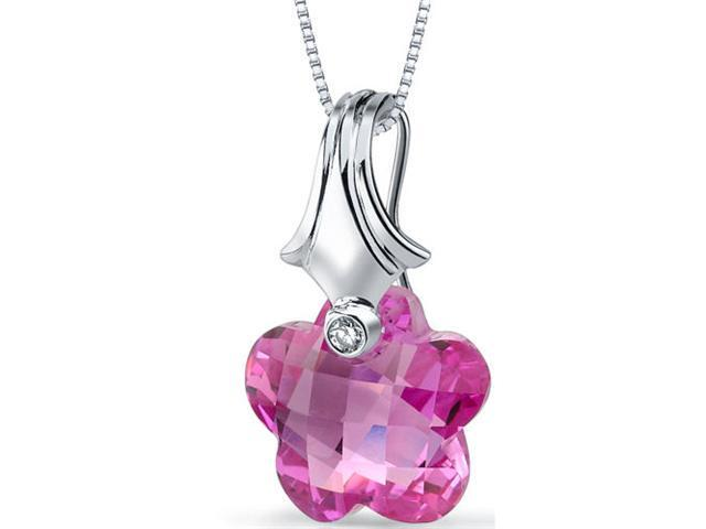 Blooming Flower Cut 16.00 carat Pink Sapphire Necklace in Sterling Silver