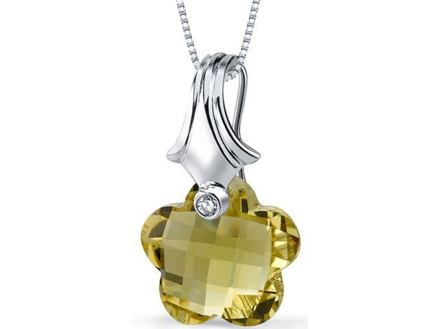 Blooming Flower Cut 11.00 carat Lemon Quartz Necklace in Sterling Silver