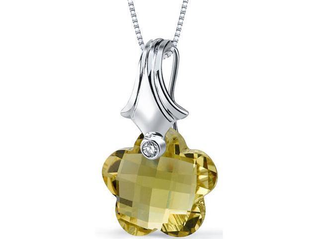 Blooming Flower Cut 11.00 carat Lemon Quartz Necklace in Sterling Silver