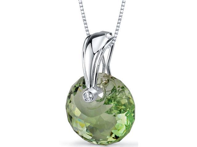Spherical Cut 15.00 carat Green Amethyst Necklace in Sterling Silver