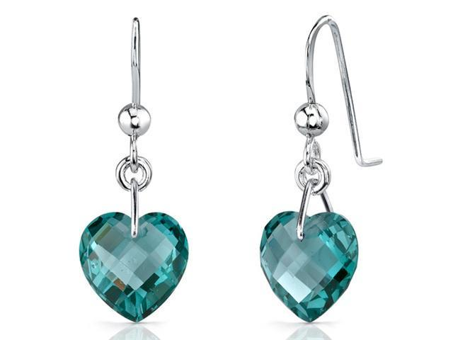 Stylish 9.50 carats Heart Shape Green Spinel earrings in Sterling Silver