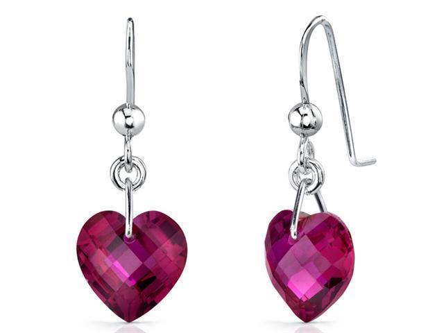 Gorgeous 9.50 carats Heart Shape Ruby earrings in Sterling Silver