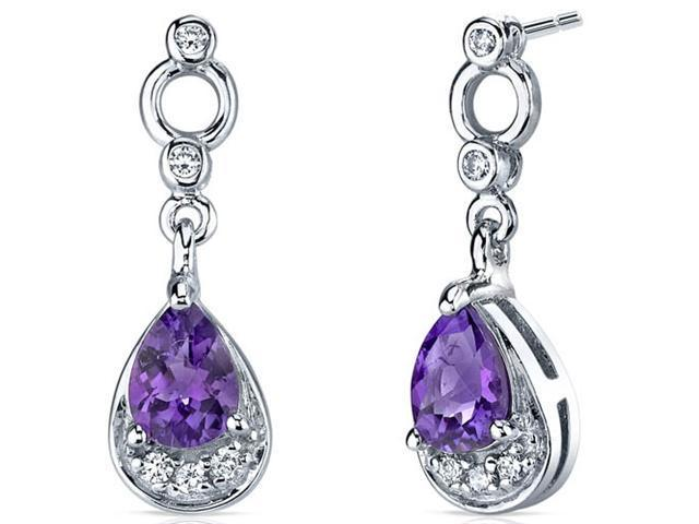 Simply Classy 1.00 Carats Amethyst Dangle Earrings in Sterling Silver