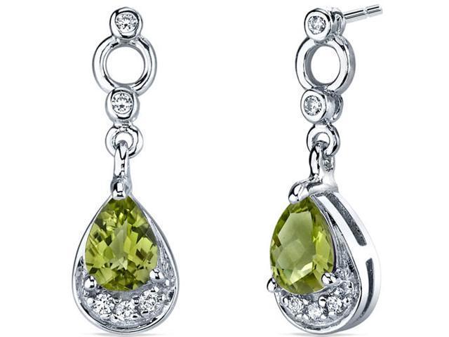 Oravo SE7142 1.50 Cttw Peridot Dangle Earrings in Sterling Silver