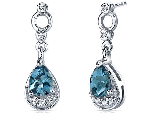 Oravo Classy SE7146 - 1.50 Carats London Blue Topaz Dangle Earrings in Sterling Silver