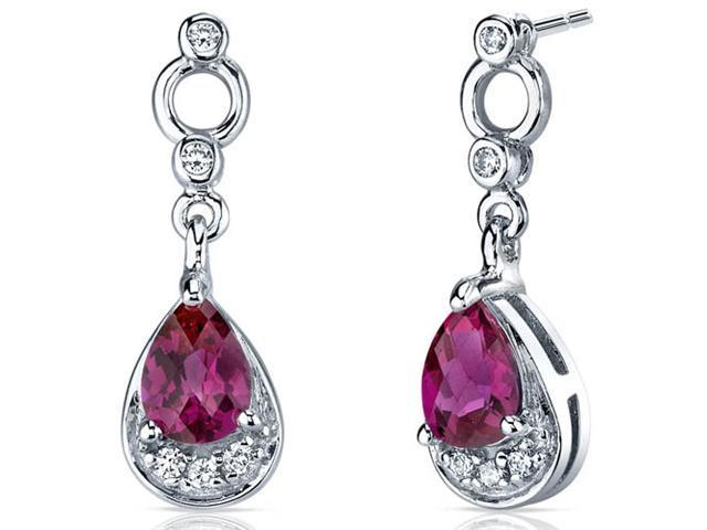 Oravo SE7148 1.50 Ct. Created Ruby Sterling Silver Dangle Earrings