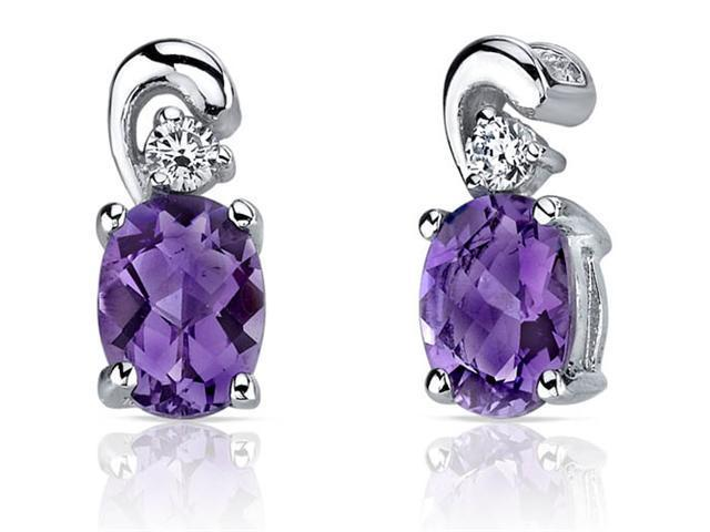 Sleek and Radiant 1.50 Carats Amethyst Earrings in Sterling Silver