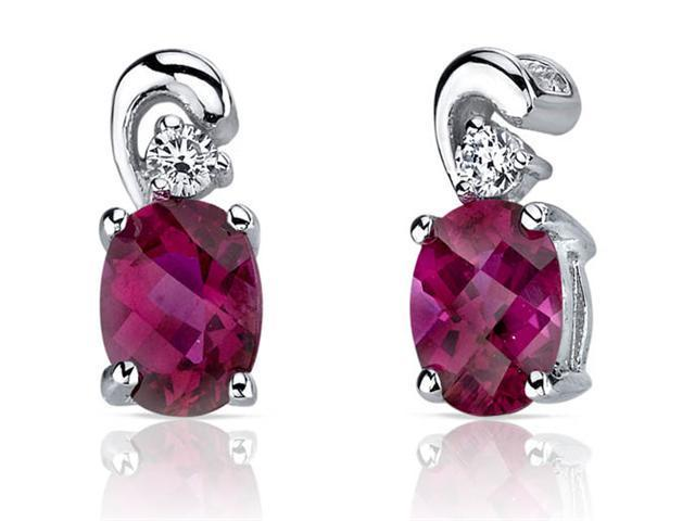 Sleek and Radiant 1.50 Carats Ruby Earrings in Sterling Silver