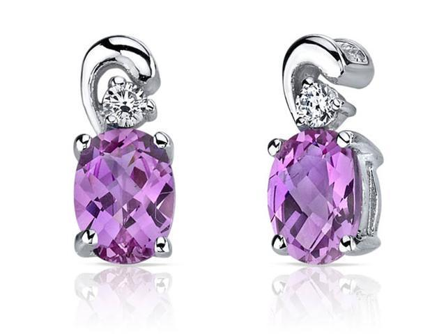 2.00 Ct. Oval Shaped Pink Sapphire Earrings in Sterling Silver