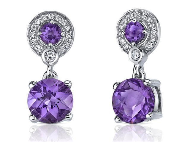 Refined Elegance 4.00 Carats Amethyst Dangle Earrings in Sterling Silver