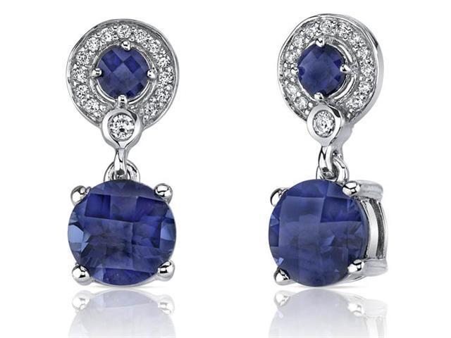 Refined Elegance 6.00 Carats Blue Sapphire Dangle Earrings in Sterling Silver