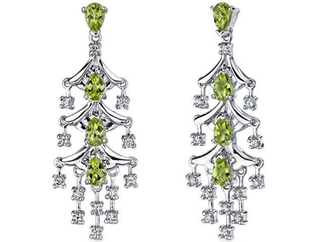 Captivating Seduction 4.00 Carats Peridot Dangle Earrings in Sterling Silver