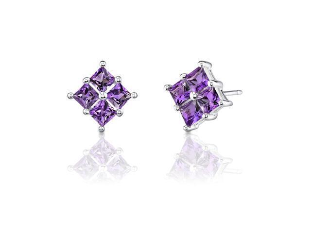 1.00 Carats Princess Cut Amethyst Earrings in Sterling Silver