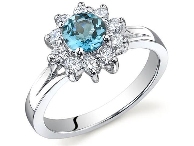 Ornate Floral 0.50 carats London Blue Topaz Ring in Sterling Silver Size 6