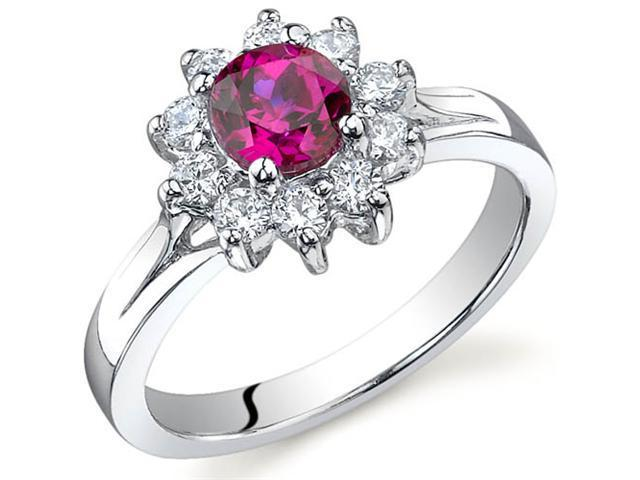 Ornate Floral 0.75 carats Ruby Ring in Sterling Silver Size 8