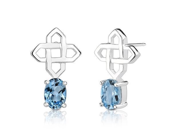 2.00 Carats Oval Shape Swiss Blue Topaz Earrings in Sterling Silver