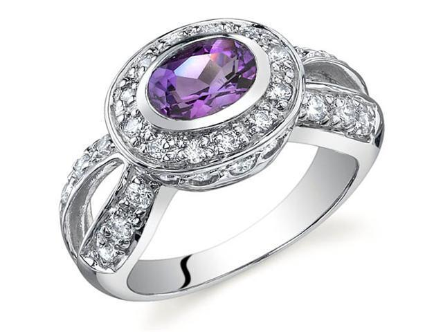 Majestic Brilliance 0.75 carats Amethyst Ring in Sterling Silver Size 7