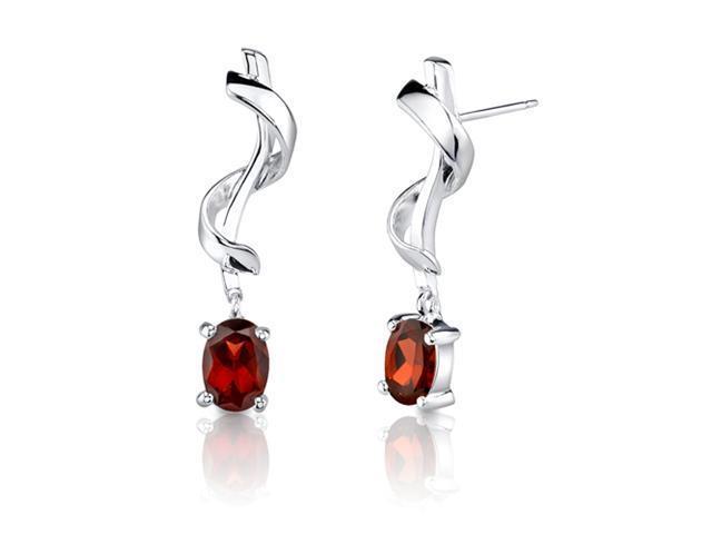 2.00 Carats Oval Cut Garnet Earrings in Sterling Silver