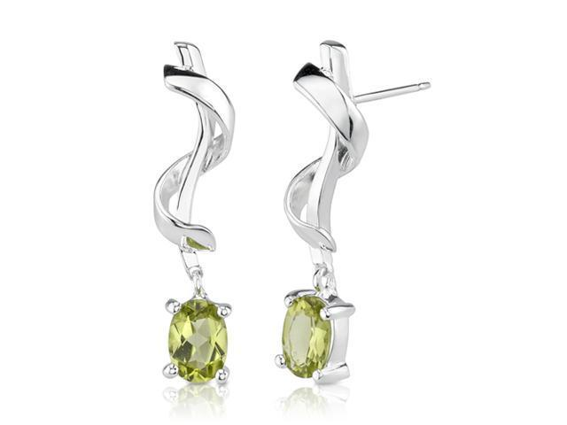 1.50 Carats Oval Peridot Earrings in Sterling Silver