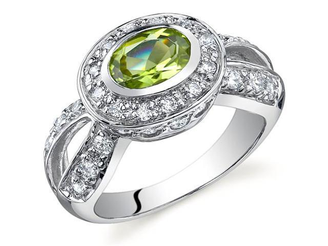 Majestic Brilliance 0.75 carats Peridot Ring in Sterling Silver Size 8