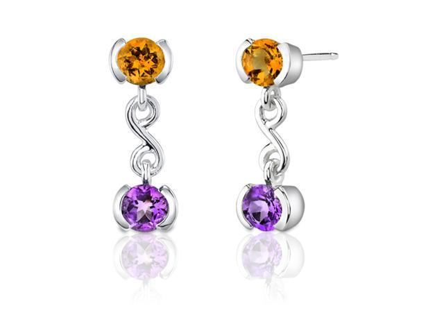 2.00 Carats Amethyst/Citrine Round Cut Earrings in Sterling Silver