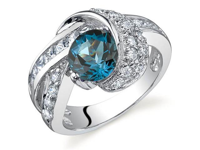 Mystic Divinity 1.50 carats London Blue Topaz Ring in Sterling Silver Size 8