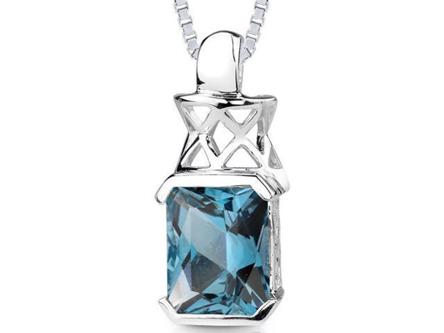 Oravo 5.00 ct Radiant Cut London Blue Topaz Pendant in Sterling Silver