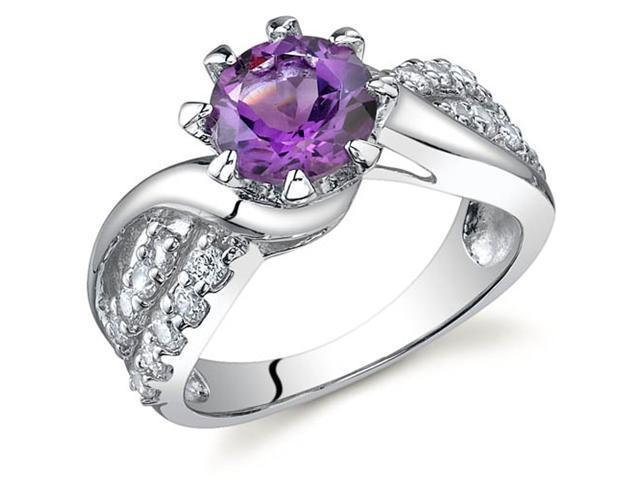 Regal Helix 1.25 carats Amethyst Ring in Sterling Silver Size 7
