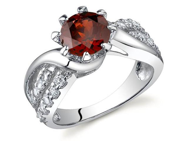 Regal Helix 1.50 carats Garnet Ring in Sterling Silver Size 9