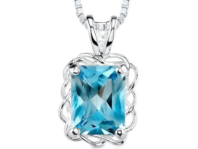 2.50 cts Radiant Cut Swiss Blue Topaz Pendant in Sterling Silver