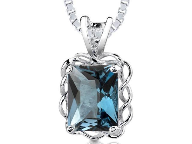 2.50 cts Radiant Cut London Blue Topaz Pendant in Sterling Silver