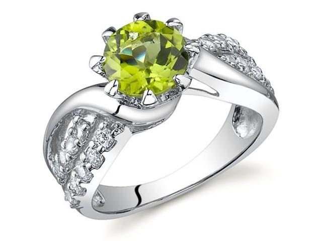 Regal Helix 1.25 carats Peridot Ring in Sterling Silver Size 6