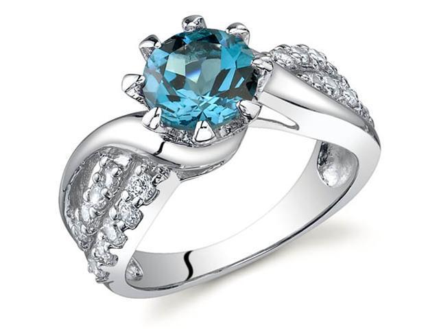 Regal Helix 1.50 carats London Blue Topaz Ring in Sterling Silver Size 7