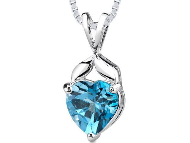 3.00 cts Heart Shape London Blue Topaz Pendant in Sterling Silver