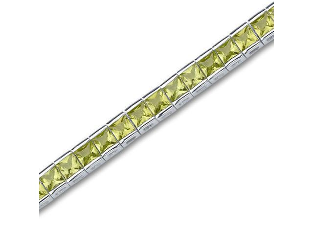 Full of Sparkle 16.00 carats total weight Princess Cut Peridot Gemstone Tennis Bracelet in Sterling Silver