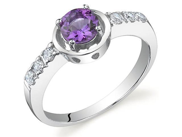 Sleek and Classy 0.50 carats Amethyst Ring in Sterling Silver Size 6