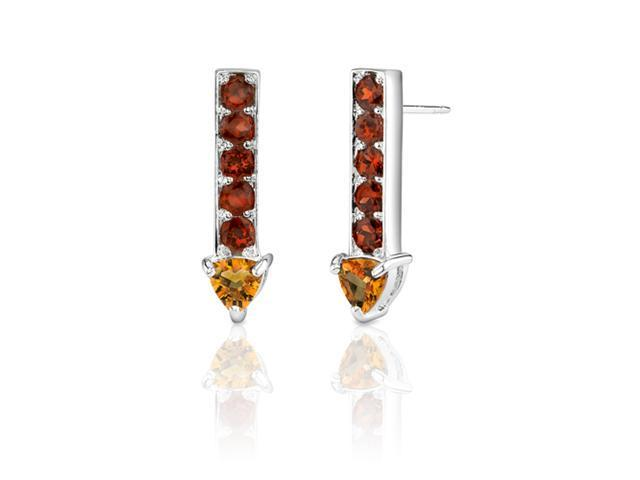 2.75 Carats Trillion Citrine Round Garnet Earrings in Sterling Silver