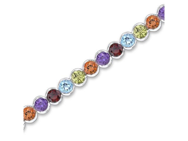 Must Have Fabulous 17.75 carats total weight Round Cut Rainbow Color Multi-Gemstone Tennis Bracelet in Sterling Silver