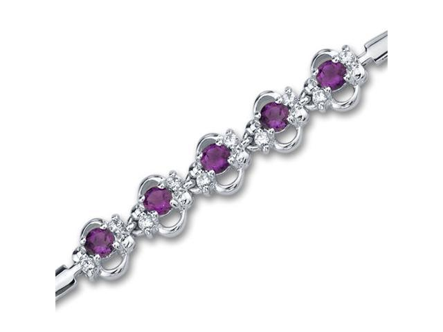 Trendy & Simple 1.25 carats total weight Round Shape Amethyst & White CZ Gemstone Bracelet in Sterling Silver