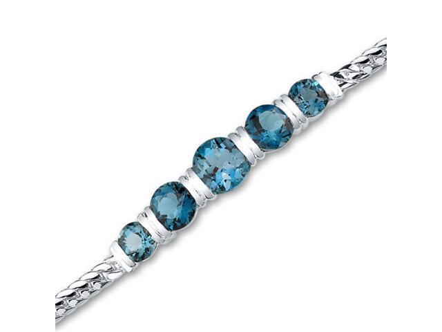 Wrist Hugging 5.00 carats total weight Round Cut London Blue Topaz Bracelet in Sterling Silver