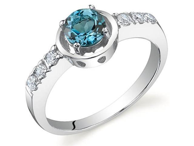 Sleek and Classy 0.50 carats London Blue Topaz Ring in Sterling Silver Size 9