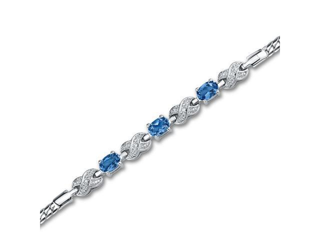 Luxurious 1.75 carats total weight Oval Cut London Blue Topaz & White CZ Gemstone Bracelet in Sterling Silver