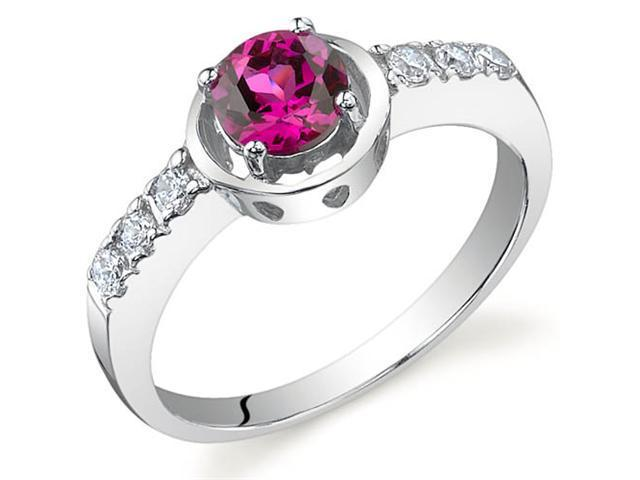 Sleek and Classy 0.75 carats Ruby Ring in Sterling Silver Size 7