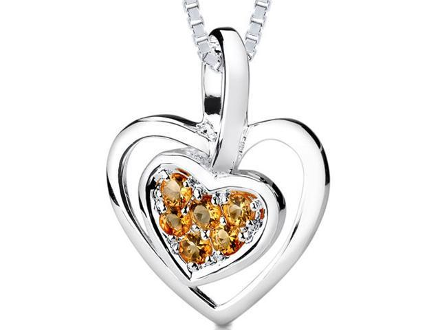 0.25ct Round Cut Citrine Heart Pendant in Sterling Silver