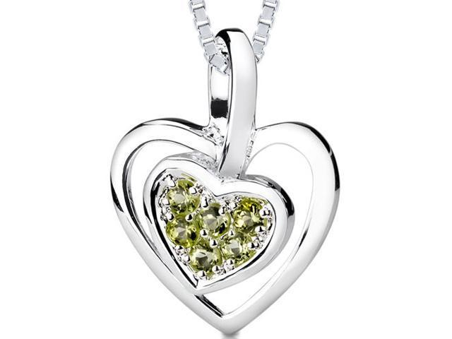0.25ct Round Cut Peridot Heart Pendant in Sterling Silver