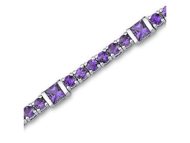 One of a Kind Design 5.75 carats total weight Princess & Round Cut Amethyst Bracelet in Sterling Silver