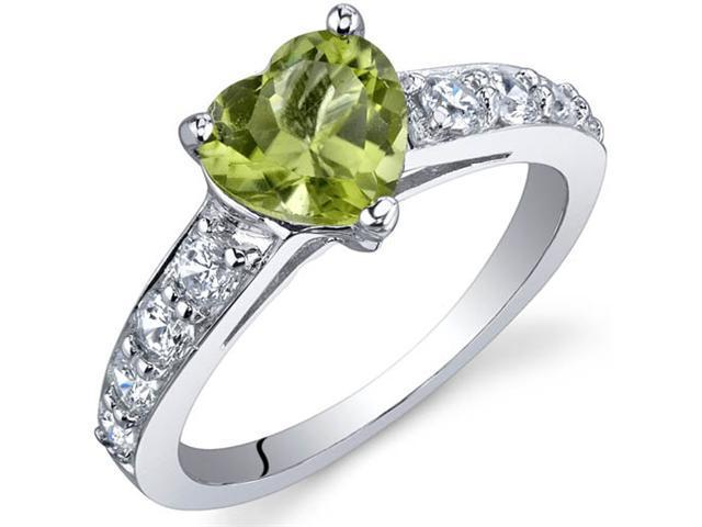 Dazzling Love 1.25 Carats Peridot Ring in Sterling Silver Size 8