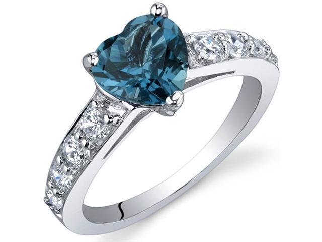 Dazzling Love 1.25 Carats London Blue Topaz Ring in Sterling Silver Size 7